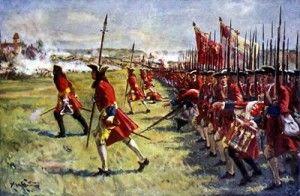 1704 - Segunda Batalla de Höchstädt, conocida como Batalla de Blenheim - Guerra de Sucesión Española -- enfrentamiento armado durante la Guerra de Sucesión Española La batalla terminó con el sueño del Rey Sol de dominar Europa, extendiendo su poder de España a los Países Bajos y de Alemania a Italia.