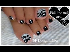 Toenail Art Design | Black and White Pedicure ♥ Черно-Белый Педикюр