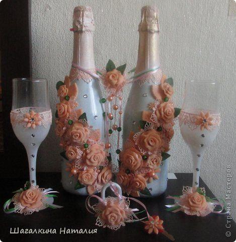 Декор предметов Свадьба Лепка Моделирование конструирование Налепила розочек  Пластика фото 1