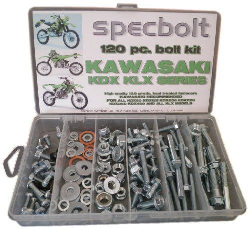 Specbolt Kawasaki KDX two stroke Bolt Kit for Maintenance & Restoration of Dirtbike OEM Spec Fastener by Specbolt Fasteners. $29.99. This Specbolt 120 piece kit will save you many trips to the dealership for that special OEM fastener needed for all air or liquid cooled Kawasaki KDX 2 & 4 Stroke models. This includes KDX80 KDX125 KDX175 KDX200 KDX220 KDX250 & KDX450 Models. Your Bolt Kit will include just the right amount of factory match flange bolts, flange nuts, lock nu...
