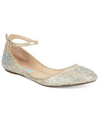 This cute style will make your day thanks to the sparkling rhinestones and cute little ankle strap. The Joy ballet flats by Blue by Betsey Johnson.