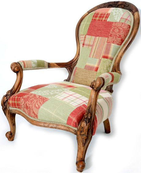 Antique chairs chair coverered in a range of red and green fabrics in a patchwork. Brands including Mulberry, Moon and GP & J Baker http://www.petersilk.co.uk/product.php/1906/chair