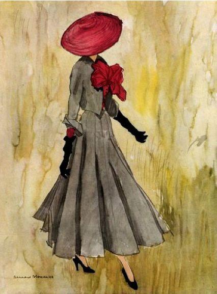 Sketch - Christian Dior design. Illustration by Bernard Blossac, 1948.