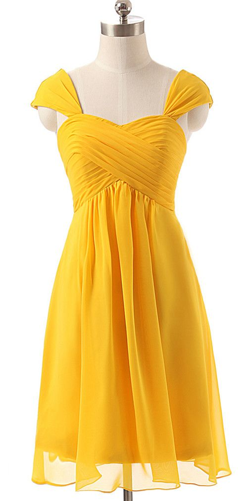 - A-line Sweetheart Short Chiffon Short Yellow Bridesmaid Dresses Cap Sleeves - Chiffon - Color Shown: Yellow RightBrides, Just as the brand name indicates, is always dedicated to be the Right online