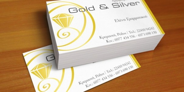 Dingo Greece business cards for Gold and Silver, Giannis Grammatikos, Rhodes