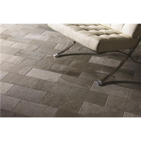 Quartz Grey Brickbonded Porcelain. From the Tileworks Collection by Original Style. Available at Welby & Wright.