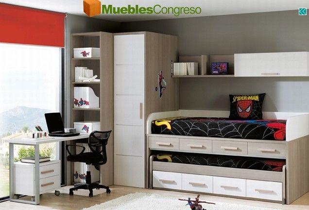 Dormitorio cama nido juvenil spiderman habitacion for Cuartos decorados hombre arana