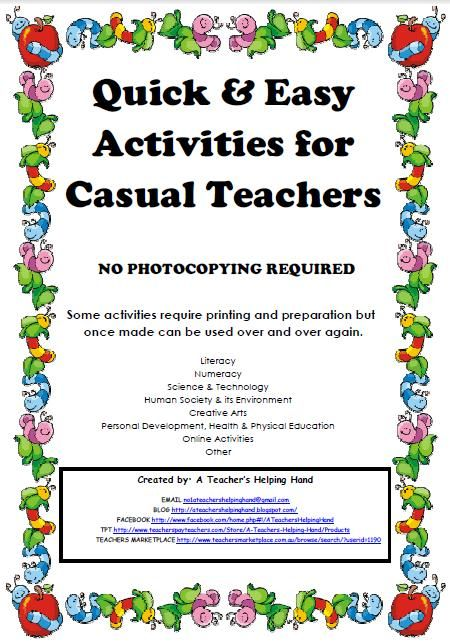 Quick & Easy Ideas for Casual Teachers