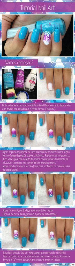 Tutorial de nail art unha decorada com azul e roxo, linda e fácil