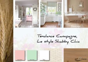 Moodboard - Déco, planche d'ambiance, tendance campagne, style Shabby Chic, réalisation well-c-home