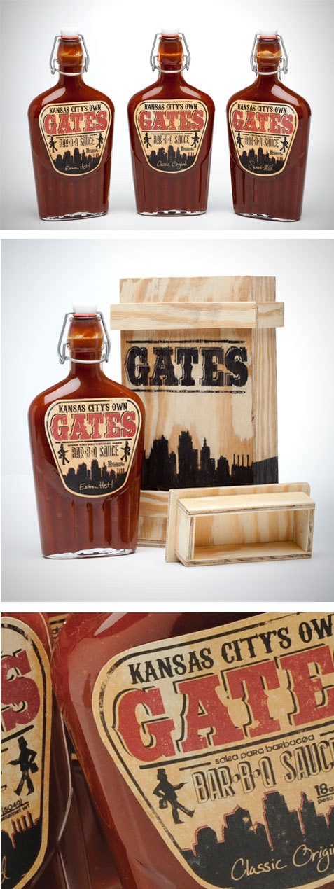 wooden box. Gates BBQ Packaging by Thomas Price