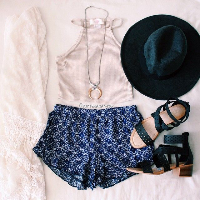 ootd styled by @vanessaaameow featuring our Bohemian Oasis Shorts & Festival Chillin' Stacked Heels.