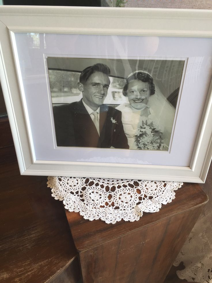 Grandparents wedding photos displayed at the reception
