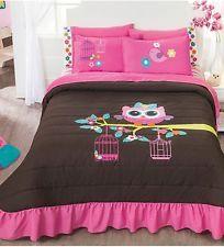 New Girls Teens Brown Pink Owl Bedspread Bedding Sheet Set