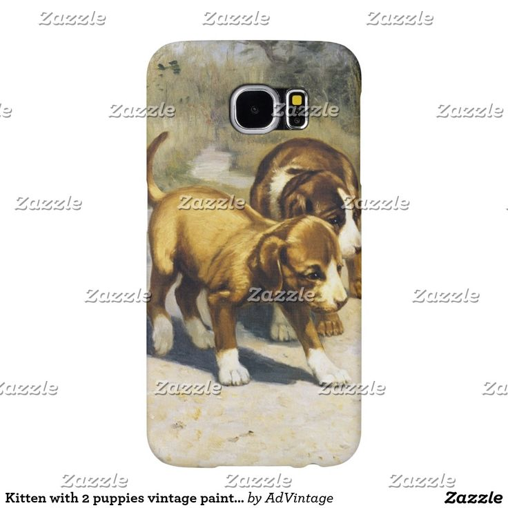 Kitten with 2 puppies vintage painting samsung galaxy s6 cases