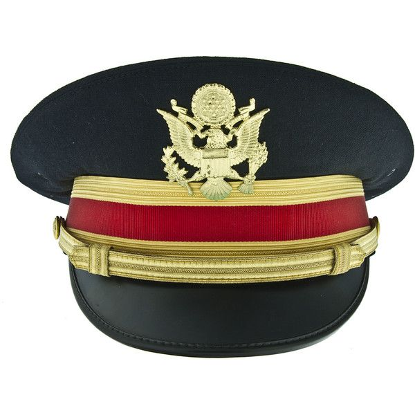 U.S. Army Artillery Officer's Dress Blue Visor Hat ❤ liked on Polyvore featuring accessories, hats, visor hats, army hat, sun visor hat, sun visor and blue hat