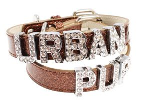 Glitter Brown Personalised Dog Collar (Diamante Letters) | Yorkie Clothes from Yorkies Only