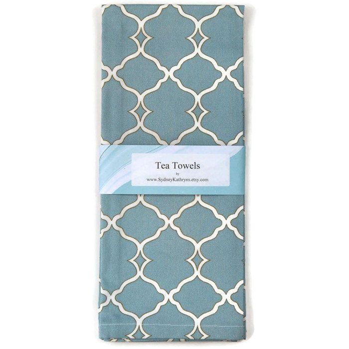 Tea Towels Aqua And White Dish Towels Set Of 2 Blue Tea Etsy Blue Tea Towel Tea Towels Decorative Kitchen Towels
