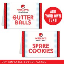 Bowling Party Editable Buffet Cards (INSTANT DOWNLOAD) - Strike up some fun with this awesome bowling party theme!