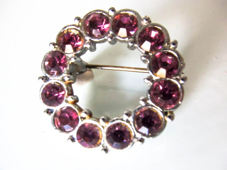 vintage round brooch, vintage pink rhinestone brooch, purple brooch, purple pin, purple brooch, gift for women, women's scarf brooch by thevintagemagpie01 on Etsy