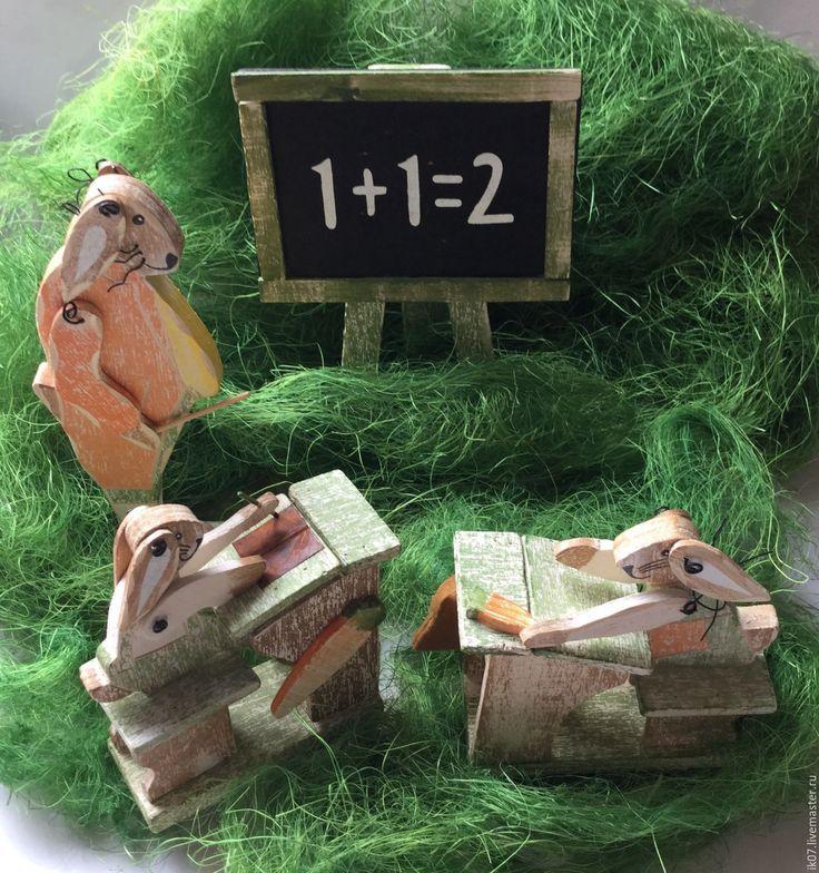 """Купить Винтажные Деревянные Игрушки """"Заячья школа"""" Германия - деревянная игрушка, деревянные игрушки, винтаж"""