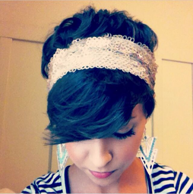 Enjoying a good headband with my pixie. cute earrings, too.