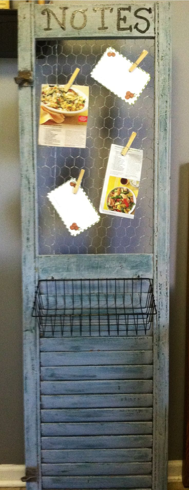 Repurposed shutter into recipe holder/notes