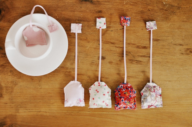 Set of 5 girly pink and floral cotton fabric tea by tabithaandhugo, $15.00