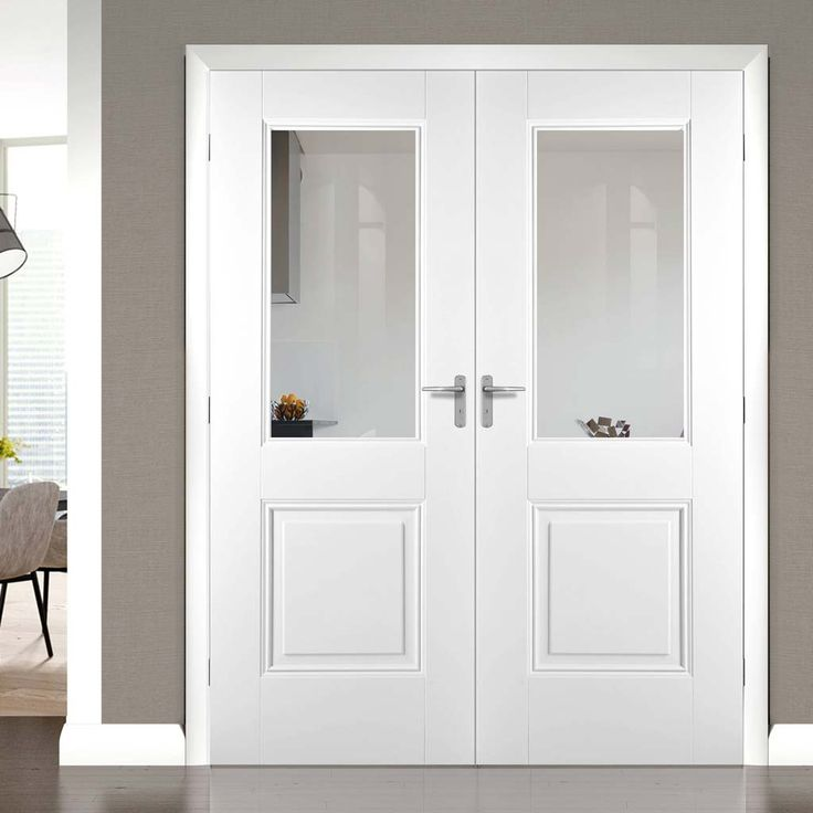 Arnhem 1L 1P White Primed Door Pair with Clear Safety Glass - Lifestyle Image