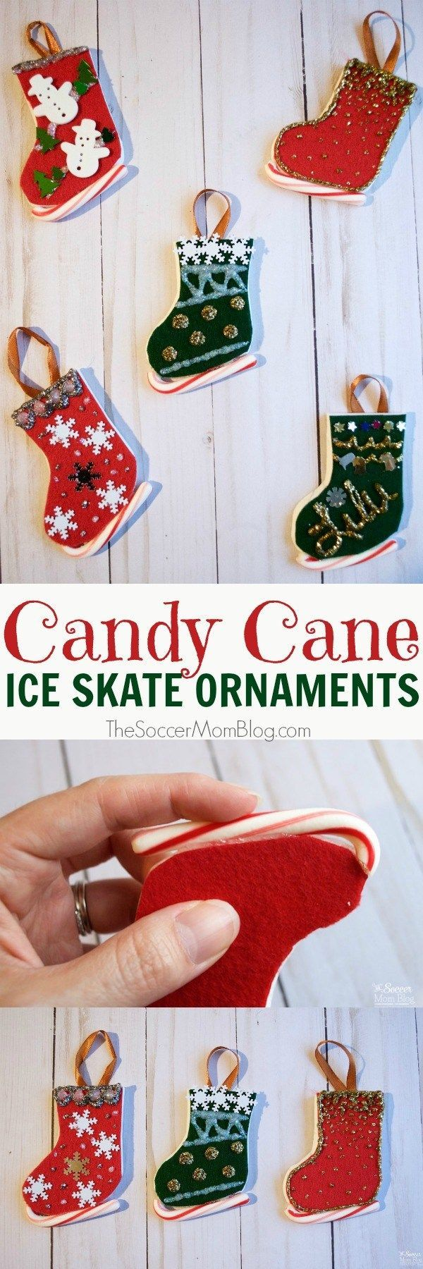 Ice cycle ornaments - Christmas Candy Cane Ice Skate Ornaments