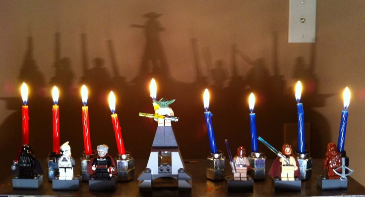 Make your own Star Wars menorah for Hanukkah. Simple DIY only involves a quick trip to Home Depot an some lego magnets. Other themes possible. Just love the way light saber shadows appear on the wall.   http://bestpinterestdeals.com/  #hanukkah #chanukah #starwars #menorah
