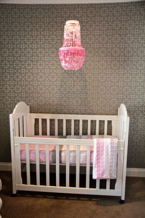 43 best nursery chandeliers images on pinterest chandeliers pink capiz shell nursery chandelier in a modern pink and gray baby girl nursery room with aloadofball Images