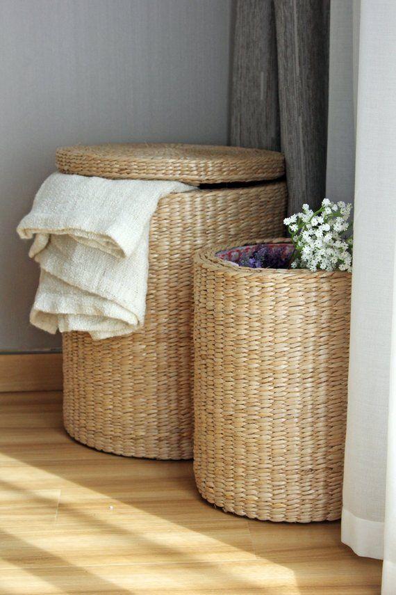 Handwoven Round Laundry Hamper Storage Basket Straw Basket Storage Footstool Utility Basket Storage Baskets Round Storage Basket
