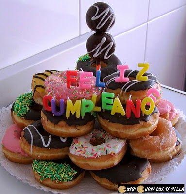 tarta de cumpleaos con donuts