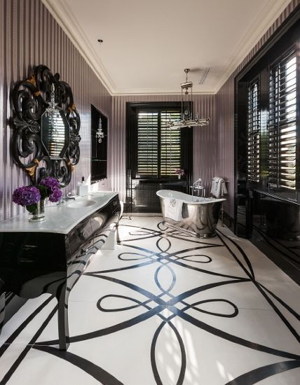 373 best images about over the top bathrooms on pinterest contemporary bathrooms bathrooms Purple and black bathroom ideas