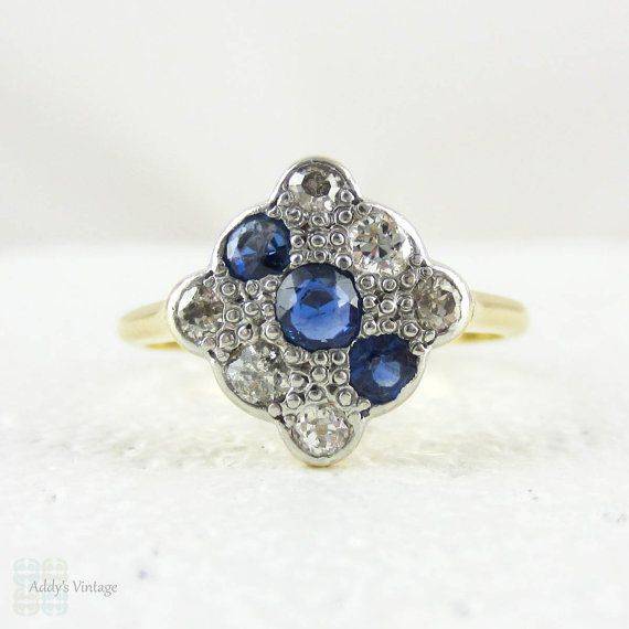 Art Deco Diamond & Sapphire Square Engagement Ring. Panel Triple Row Blue Sapphire and Old European Cut Diamond Ring, 18 Carat Platinum.