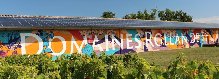 La façade tout en couleur du Chai amène de la gaieté dans ce parterre de vignes !