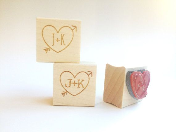 Custom Heart  Arrow Stamp. 1x1 heart stamp. DIY by AproposRoasters, $18.00