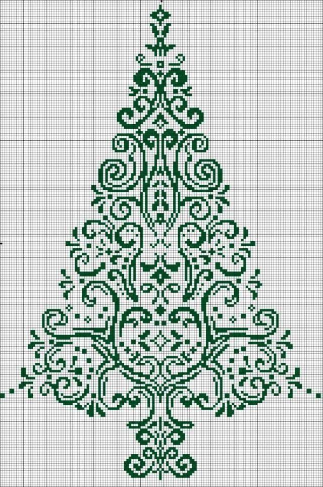 Christmas tree cross-stitch pattern