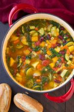 The good thing about Minestrones soup, is the veggies. And this one is no exception.Even if you'renota big fan of veggies, thissoup is not only flavorful but nutritioustoo, and before youeven realize it...the bowl will be empty.   #carrots #chopped kale #diced tomatoes #kale #minced fresh rosemary #minestrone soup #onion #pasta #red & white kidney beans #shredded parmesan cheese #soup #vegtable broth #yukon gold potatoes #zucchini