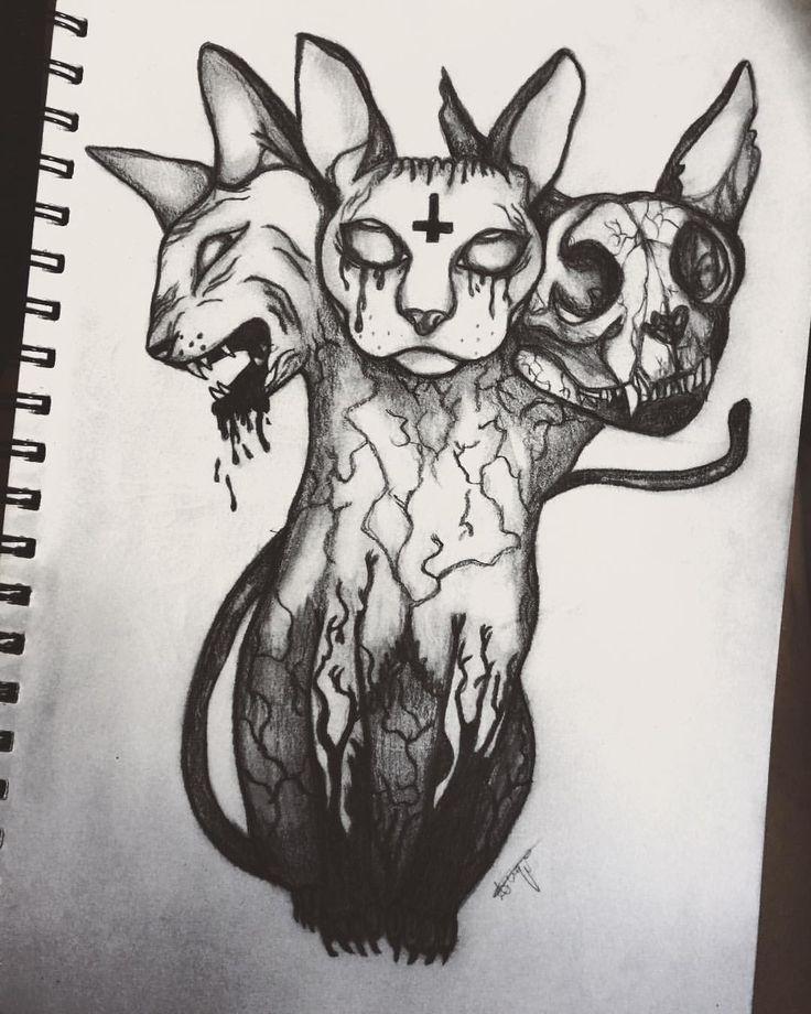 3 headed demonic Sphynx drawing art sketch cat creepy – By April Urquhart
