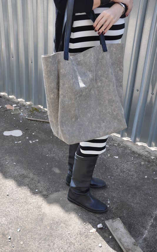 grey -like scratched- leather tote bag