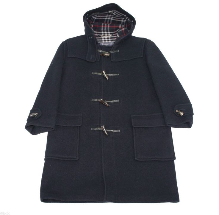 Burberry horn toggle duffle coat navy blue 100% wool made in England Large / XL #Burberry #DuffleCoat