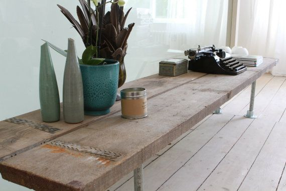 Reclaimed Scaffolding Boards and Galvanised Steel Pipe Long Low TV Bench or Console Table on Etsy, $304.00