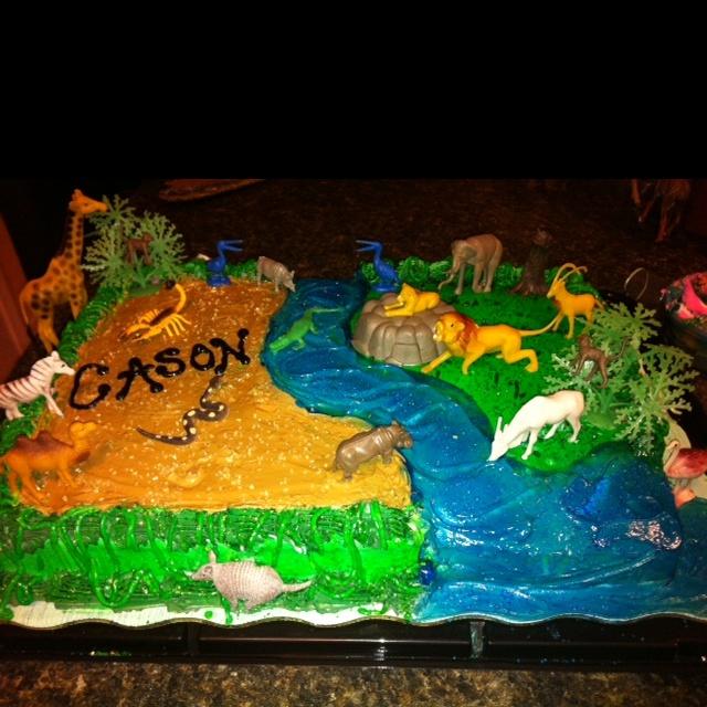 The FINISHED safari Birthday cake :)