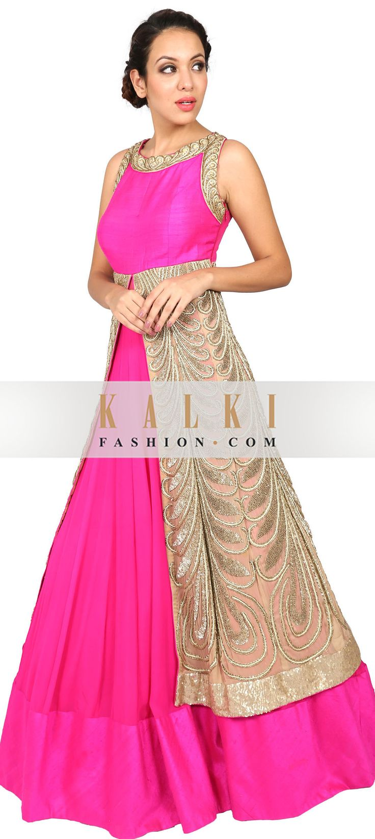 Buy Online from the link below. We ship worldwide (Free Shipping over US$100) http://www.kalkifashion.com/pink-and-beige-anarkali-suit-embroidered-in-zardosi.html