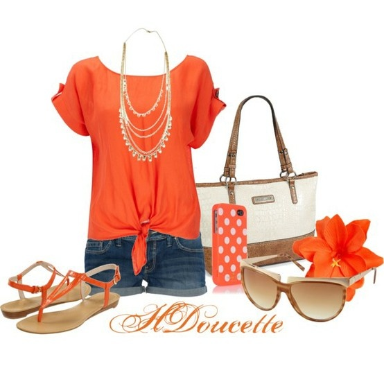 Love this!Orange, Fashion, Summer Outfit, Style, Clothing, Games Day Outfit, Spring Summe, Bright Colors, Dreams Closets