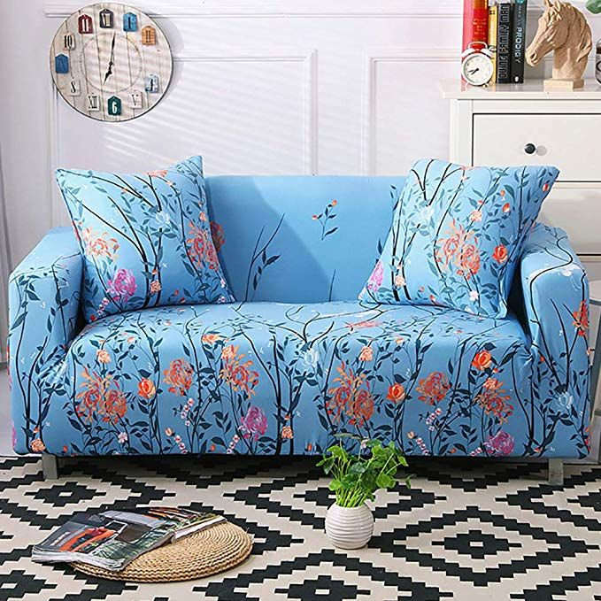 Pets-Sofa Slipcover For Couch Loveseat or Chair Quick Fit Rhys Durable Quality Reversible Water Resistant Cover for Dogs Kids Recliner Navy