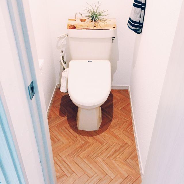 lena_henzaさんの、バス/トイレ,観葉植物,トイレ,フローリング,DIY,新居,シンプル,ホワイト,バス/トイレ,エアープランツ,木材,ブルックリンスタイル,ミニマリスト,ブルックリンスタイル目指してます,のお部屋写真