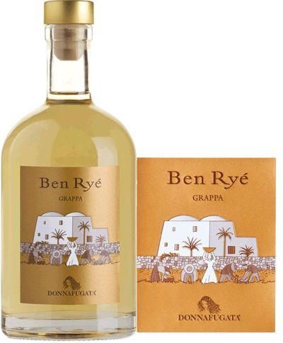 Donnafugata Grappa Ben Ryé  A distillate with golden glints, its bouquet delivers typical citrus notes, followed by a superb aromatic range of fresh and candied fruit (citron, peach, apricot and exotic fruit) blended with a subtle aroma of vanilla.+872150 SPEC